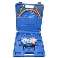 Манометрический коллектор Value VMG-2-R410A-B  (R22, R134a, R410a, R407C; 2-х вентильный; 3 шланга 120см; манометры 68мм; упак. кейс), фото 1