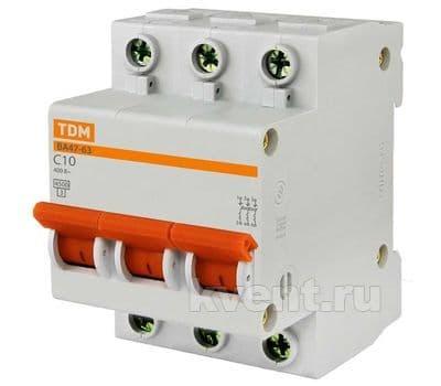 Автоматический выключатель TDM ВА47-63 3/50А, фото 1