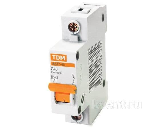 Автоматический выключатель TDM ВА47-63 1/40А, фото 1