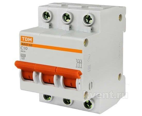 Автоматический выключатель TDM ВА47-63 3/40А, фото 1