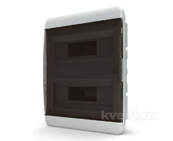 Tekfor бокс встраиваемый 24 мод. IP41, прозрачная черная дверца, фото 1